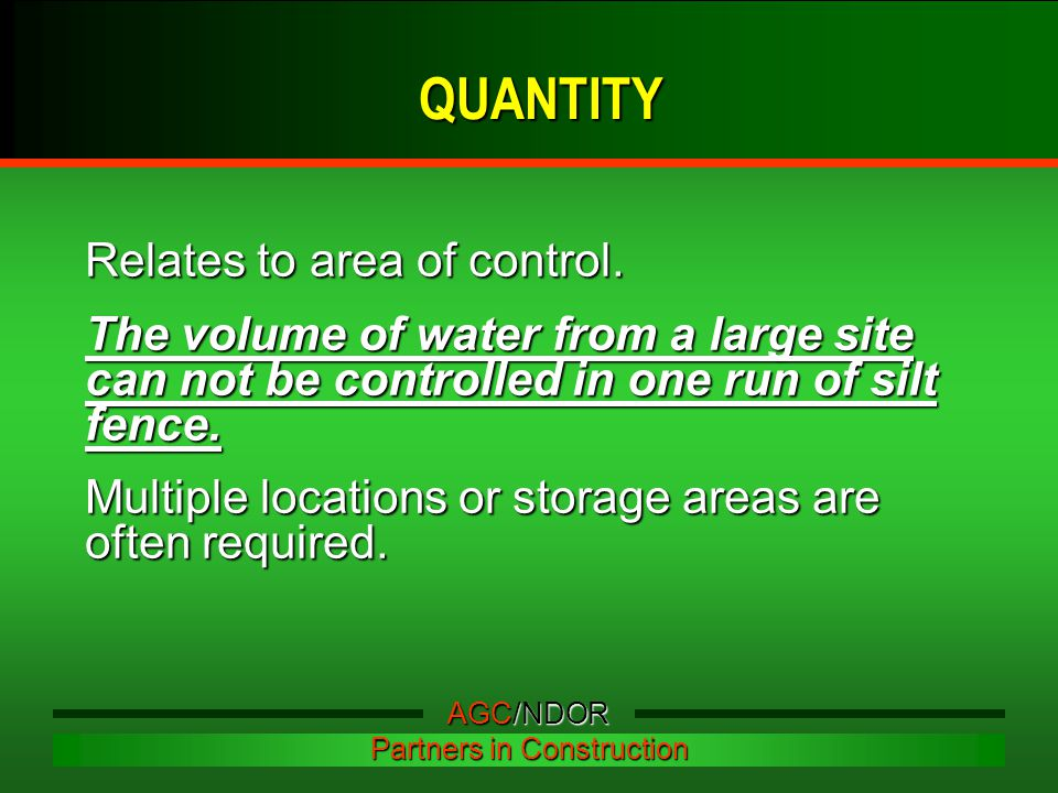 Relates to area of control. The volume of water from a large site can not be controlled in one run of silt fence. Multiple locations or storage areas