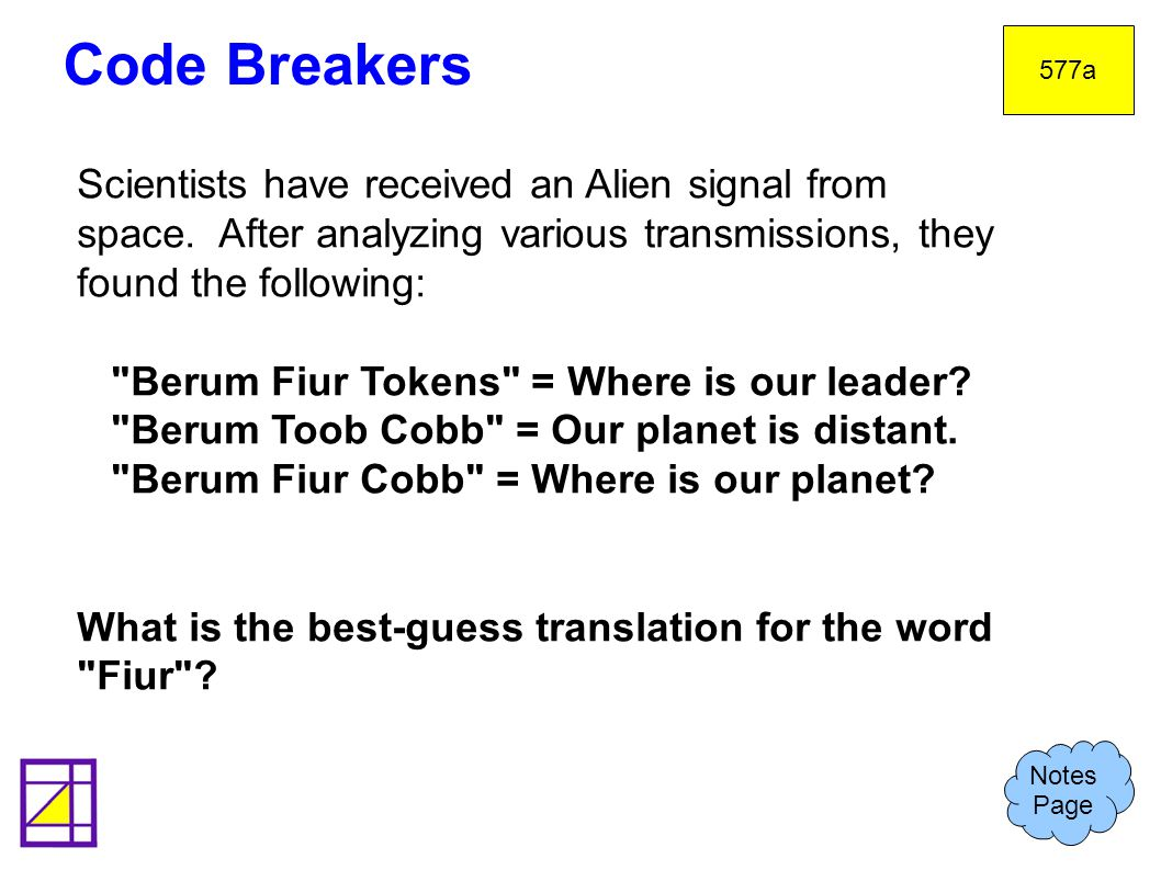 Code Breakers 577a Notes Page Scientists have received an Alien signal from space.