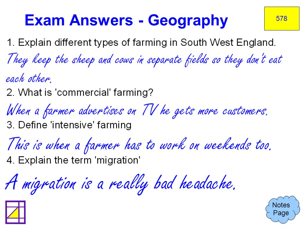Exam Answers - Geography Notes Page 578