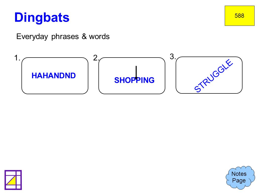 Everyday phrases & words Dingbats Notes Page 588 1.2. 3. HAHANDND SHOPPING STRUGGLE