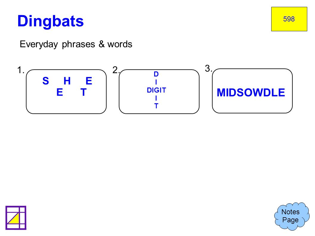 Everyday phrases & words Dingbats Notes Page 598 1.2. 3. S H E E T D I DIGIT I T MIDSOWDLE