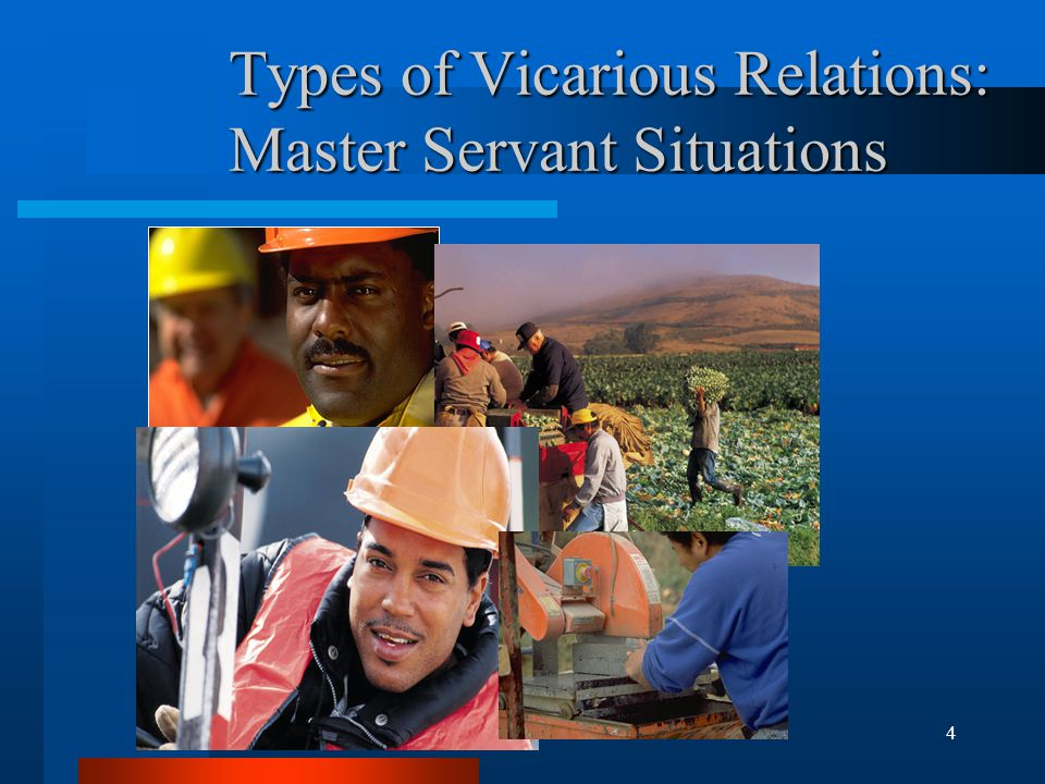 4 Types of Vicarious Relations: Master Servant Situations
