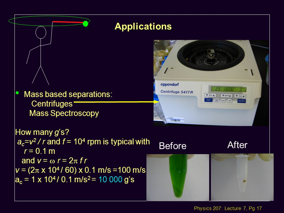 Physics 207: Lecture 7, Pg 17 Applications Mass based separations: Centrifuges Mass Spectroscopy How many g's.