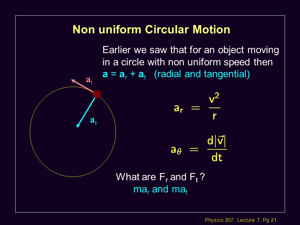 Physics 207: Lecture 7, Pg 21 Non uniform Circular Motion Earlier we saw that for an object moving in a circle with non uniform speed then a = a r + a t (radial and tangential) arar atat What are F r and F t .