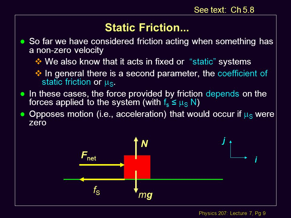 Physics 207: Lecture 7, Pg 9 Static Friction...