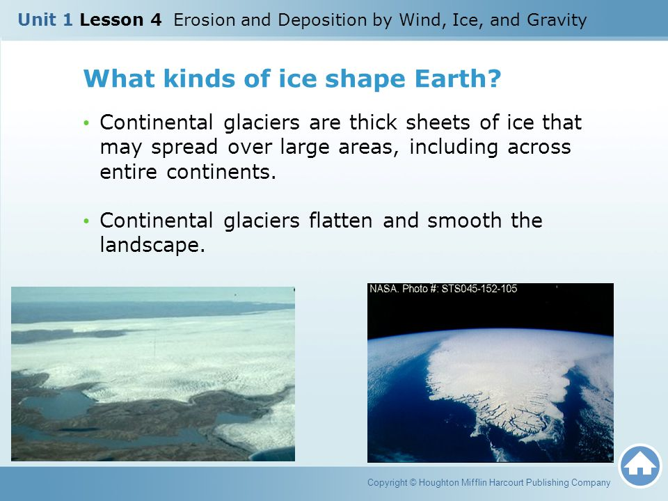 What kinds of ice shape Earth? Continental glaciers are thick sheets of ice that may spread over large areas, including across entire continents. Cont