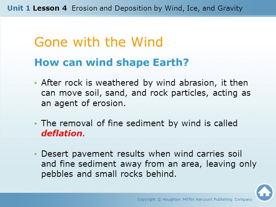 Gone with the Wind Copyright © Houghton Mifflin Harcourt Publishing Company How can wind shape Earth? After rock is weathered by wind abrasion, it the