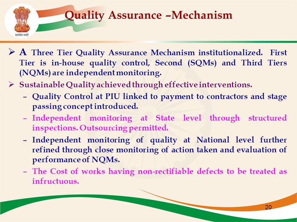 20 Quality Assurance –Mechanism  A Three Tier Quality Assurance Mechanism institutionalized.