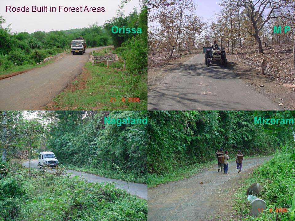 Roads Built in Forest Areas MizoramNagaland OrissaM P