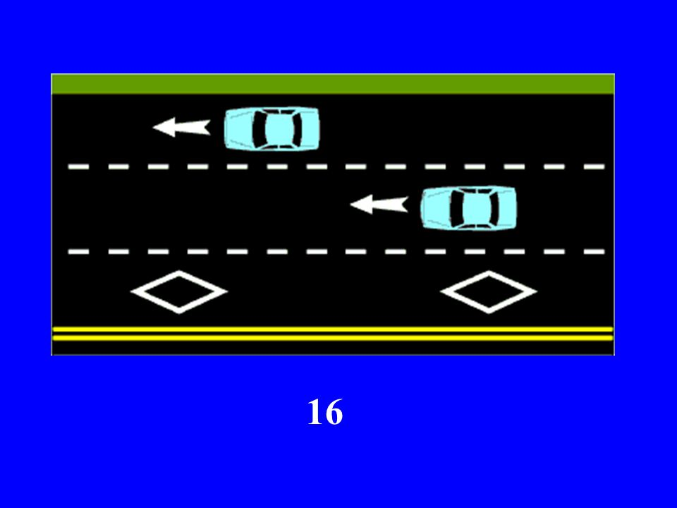 What do the DIAMOND SHAPED ROAD MARKINGS in this next slide signify?