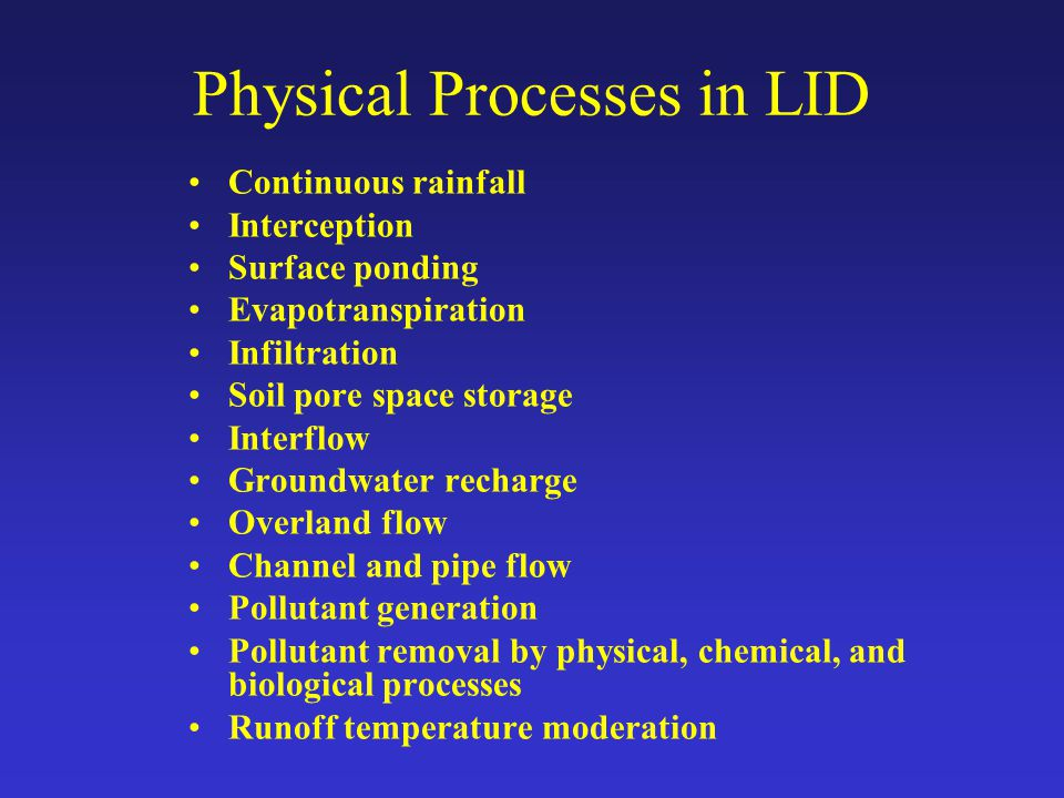 Physical Processes in LID Continuous rainfall Interception Surface ponding Evapotranspiration Infiltration Soil pore space storage Interflow Groundwat