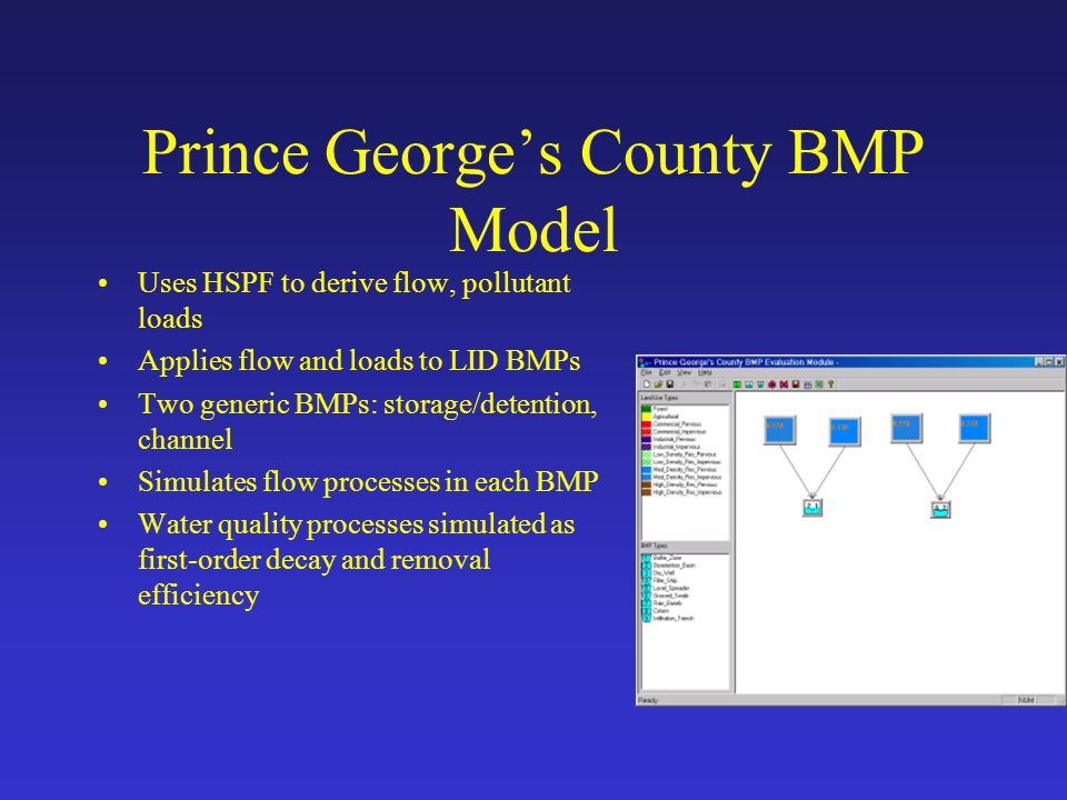 Prince George's County BMP Model Uses HSPF to derive flow, pollutant loads Applies flow and loads to LID BMPs Two generic BMPs: storage/detention, cha