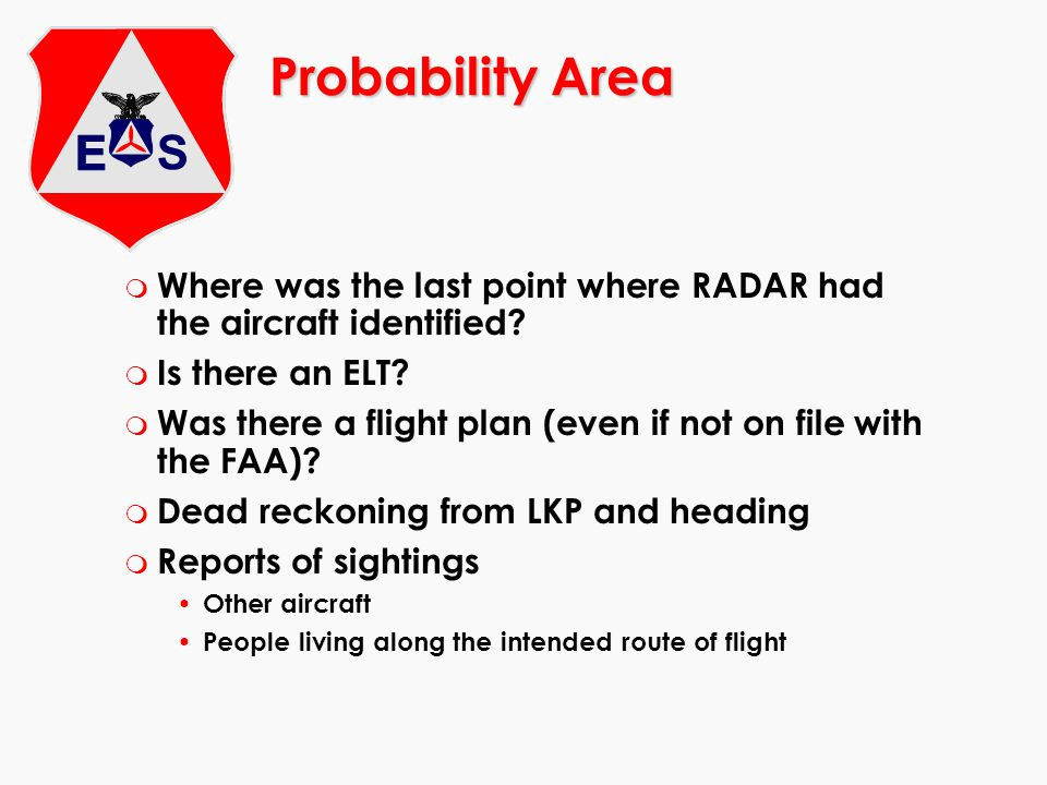 Probability Area m Where was the last point where RADAR had the aircraft identified.