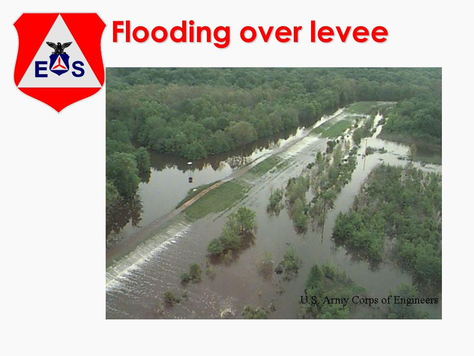 Flooding over levee