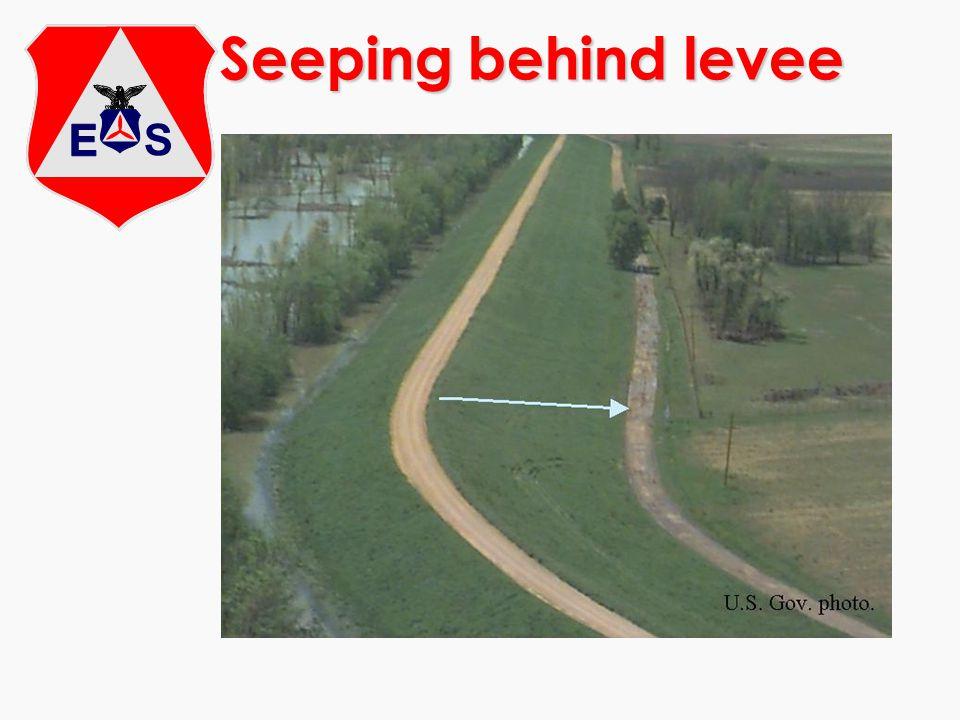 Seeping behind levee
