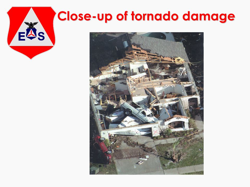 Close-up of tornado damage