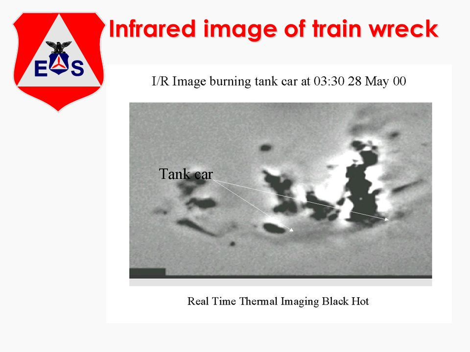 Infrared image of train wreck