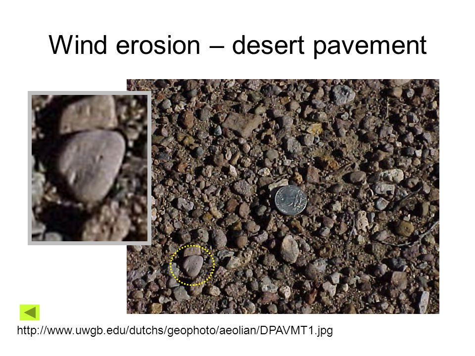 Wind erosion – desert pavement http://www.uwgb.edu/dutchs/geophoto/aeolian/DPAVMT1.jpg