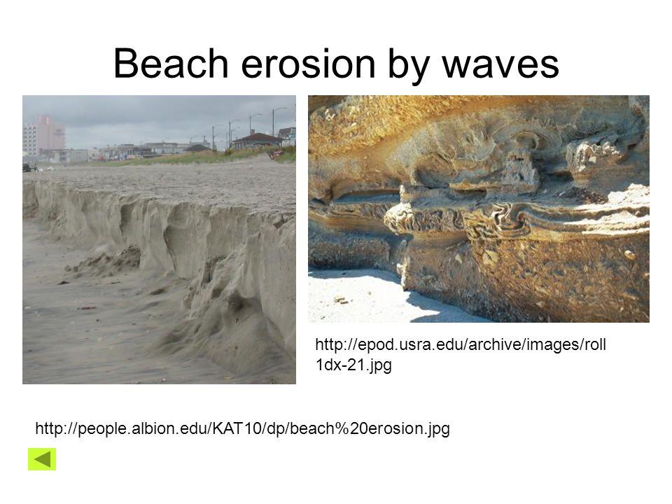 Beach erosion by waves http://people.albion.edu/KAT10/dp/beach%20erosion.jpg http://epod.usra.edu/archive/images/roll 1dx-21.jpg