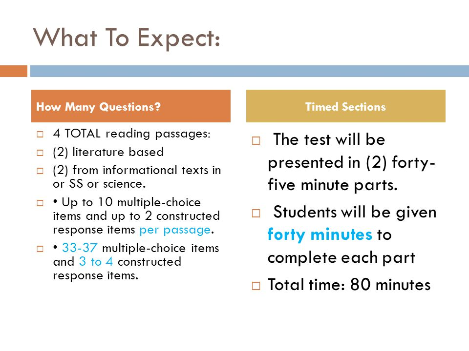 What To Expect:  4 TOTAL reading passages:  (2) literature based  (2) from informational texts in or SS or science.