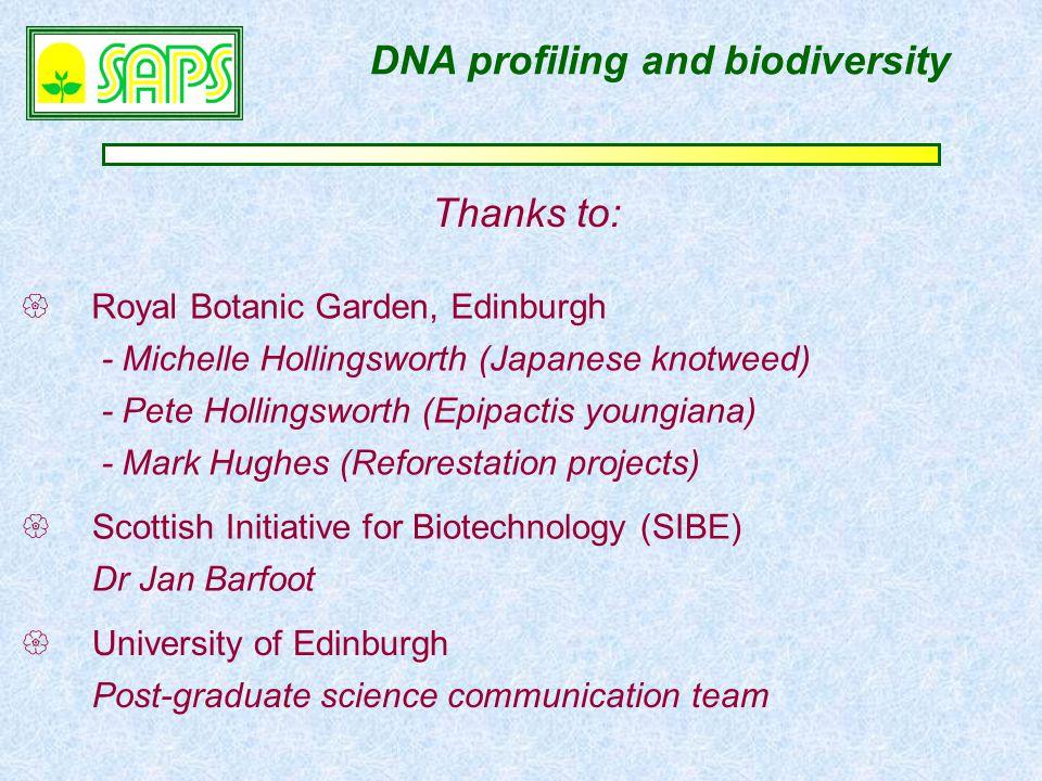  Royal Botanic Garden, Edinburgh - Michelle Hollingsworth (Japanese knotweed) - Pete Hollingsworth (Epipactis youngiana) - Mark Hughes (Reforestation projects)  Scottish Initiative for Biotechnology (SIBE) Dr Jan Barfoot DNA profiling and biodiversity Thanks to:  University of Edinburgh Post-graduate science communication team