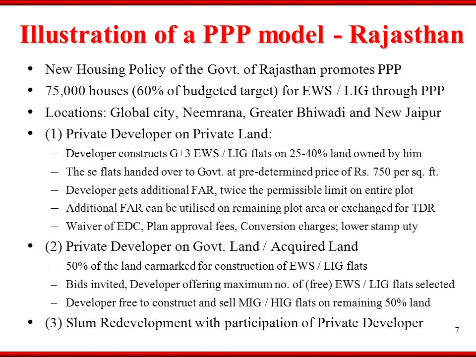 Illustration of a PPP model - Rajasthan New Housing Policy of the Govt.