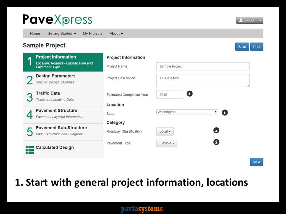 paviasystems 1. Start with general project information, locations