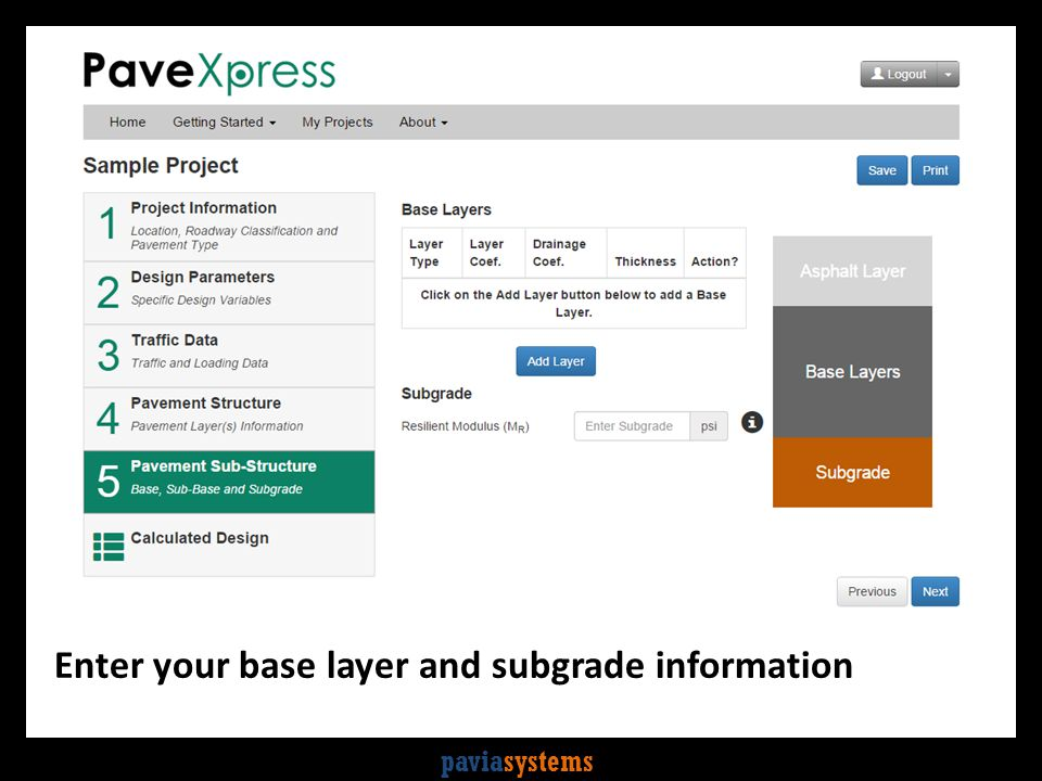 paviasystems Enter your base layer and subgrade information