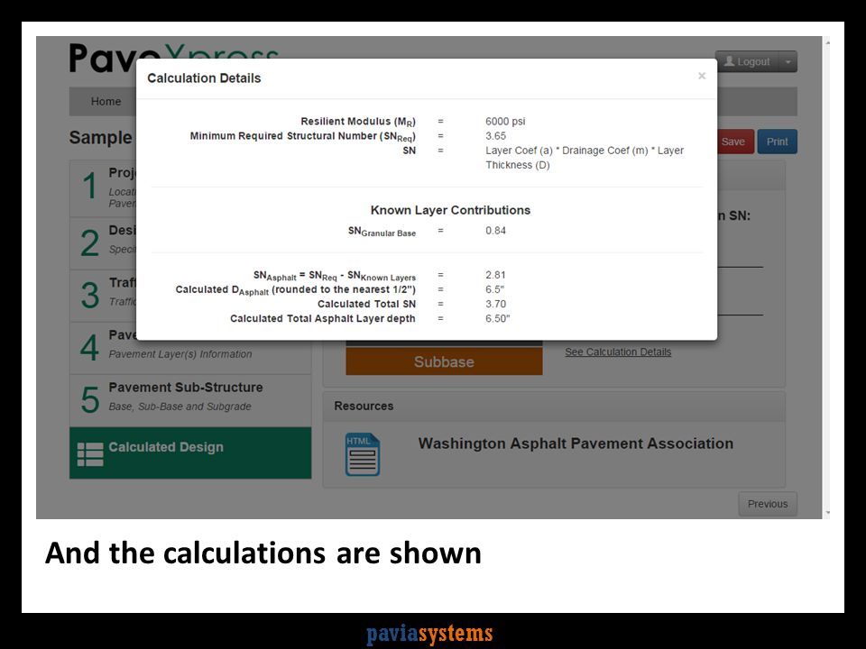 paviasystems And the calculations are shown