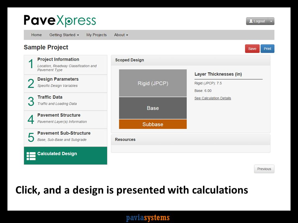 paviasystems Click, and a design is presented with calculations