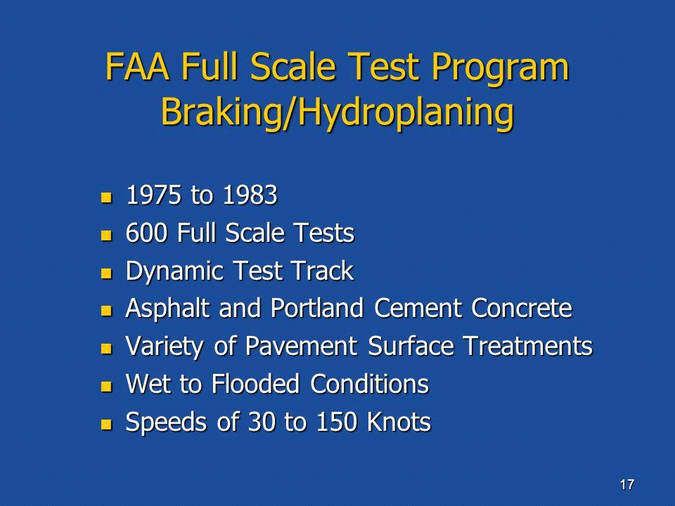FAA Full Scale Test Program Braking/Hydroplaning 1975 to 1983 1975 to 1983 600 Full Scale Tests 600 Full Scale Tests Dynamic Test Track Dynamic Test T