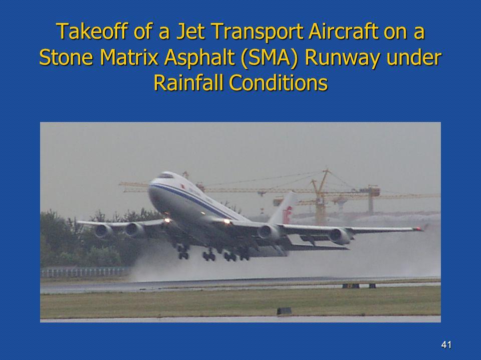 Takeoff of a Jet Transport Aircraft on a Stone Matrix Asphalt (SMA) Runway under Rainfall Conditions 41