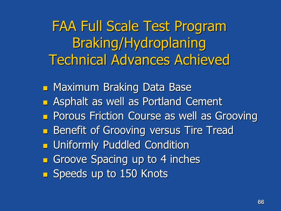 FAA Full Scale Test Program Braking/Hydroplaning Technical Advances Achieved Maximum Braking Data Base Maximum Braking Data Base Asphalt as well as Po