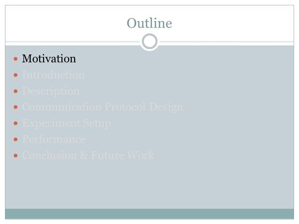 Outline Motivation Introduction Description Communication Protocol Design Experiment Setup Performance Conclusion & Future Work