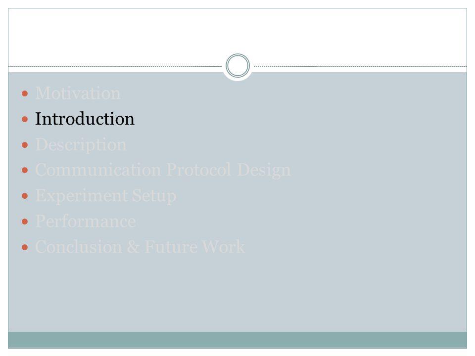 Motivation Introduction Description Communication Protocol Design Experiment Setup Performance Conclusion & Future Work