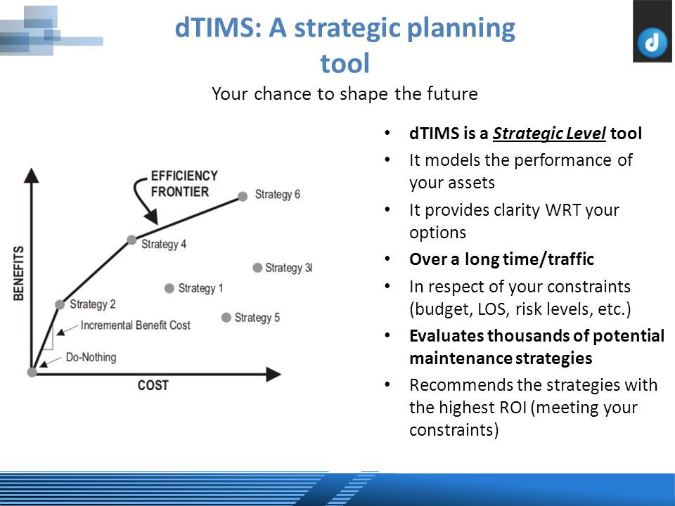 dTIMS: A strategic planning tool Your chance to shape the future dTIMS is a Strategic Level tool It models the performance of your assets It provides clarity WRT your options Over a long time/traffic In respect of your constraints (budget, LOS, risk levels, etc.) Evaluates thousands of potential maintenance strategies Recommends the strategies with the highest ROI (meeting your constraints)