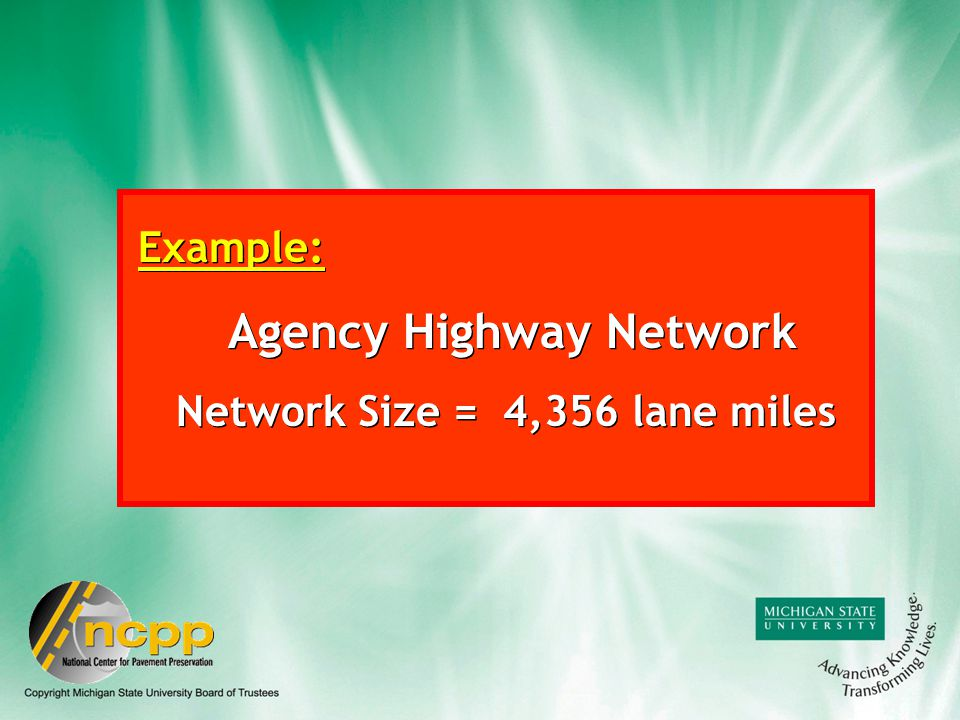 Example: Agency Highway Network Network Size = 4,356 lane miles Example: Agency Highway Network Network Size = 4,356 lane miles