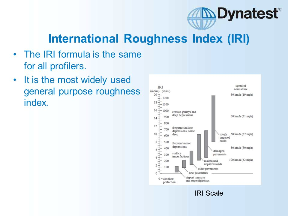 International Roughness Index (IRI) The IRI formula is the same for all profilers.