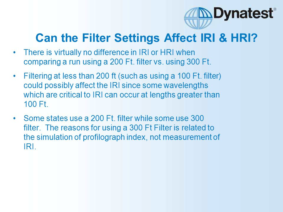 Can the Filter Settings Affect IRI & HRI.