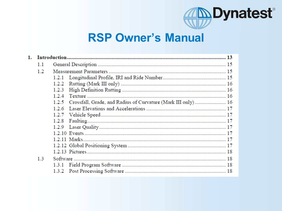 RSP Owner's Manual