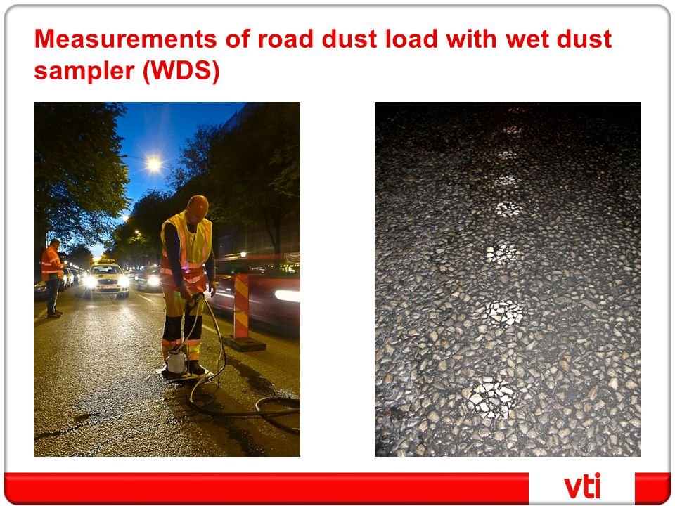 Measurements of road dust load with wet dust sampler (WDS)