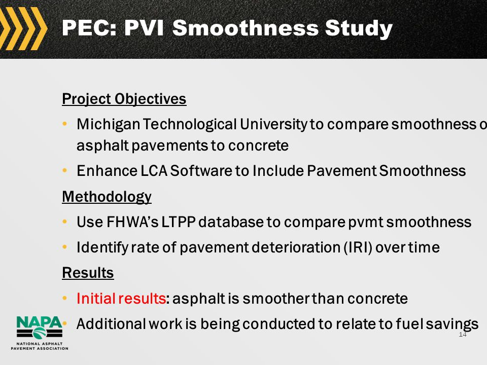 14 PEC: PVI Smoothness Study Project Objectives Michigan Technological University to compare smoothness of asphalt pavements to concrete Enhance LCA Software to Include Pavement Smoothness Methodology Use FHWA's LTPP database to compare pvmt smoothness Identify rate of pavement deterioration (IRI) over time Results Initial results: asphalt is smoother than concrete Additional work is being conducted to relate to fuel savings