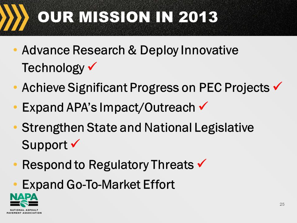 25 OUR MISSION IN 2013 Advance Research & Deploy Innovative Technology Achieve Significant Progress on PEC Projects Expand APA's Impact/Outreach Strengthen State and National Legislative Support Respond to Regulatory Threats Expand Go-To-Market Effort