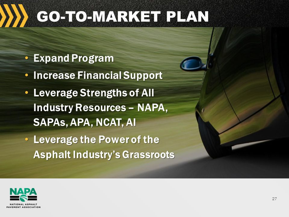 27 GO-TO-MARKET PLAN Expand Program Expand Program Increase Financial Support Increase Financial Support Leverage Strengths of All Industry Resources – NAPA, SAPAs, APA, NCAT, AI Leverage Strengths of All Industry Resources – NAPA, SAPAs, APA, NCAT, AI Leverage the Power of the Asphalt Industry's Grassroots Leverage the Power of the Asphalt Industry's Grassroots
