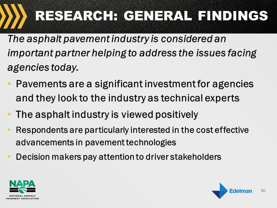 30 RESEARCH: GENERAL FINDINGS The asphalt pavement industry is considered an important partner helping to address the issues facing agencies today.