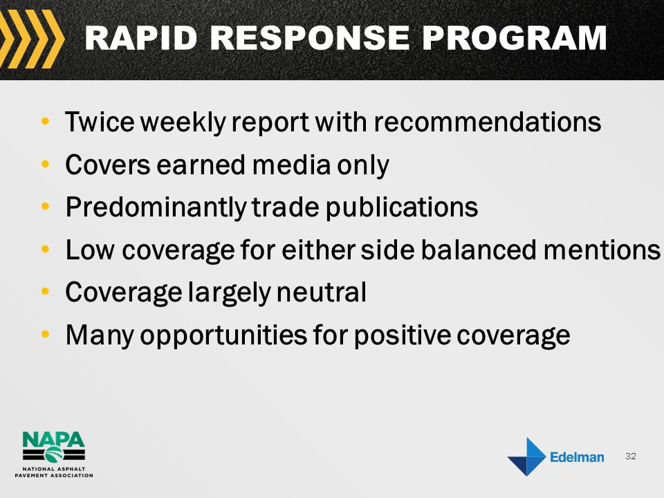 32 RAPID RESPONSE PROGRAM Twice weekly report with recommendations Covers earned media only Predominantly trade publications Low coverage for either side balanced mentions Coverage largely neutral Many opportunities for positive coverage