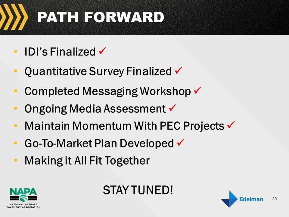 33 PATH FORWARD IDI's Finalized Quantitative Survey Finalized Completed Messaging Workshop Ongoing Media Assessment Maintain Momentum With PEC Projects Go-To-Market Plan Developed Making it All Fit Together STAY TUNED!