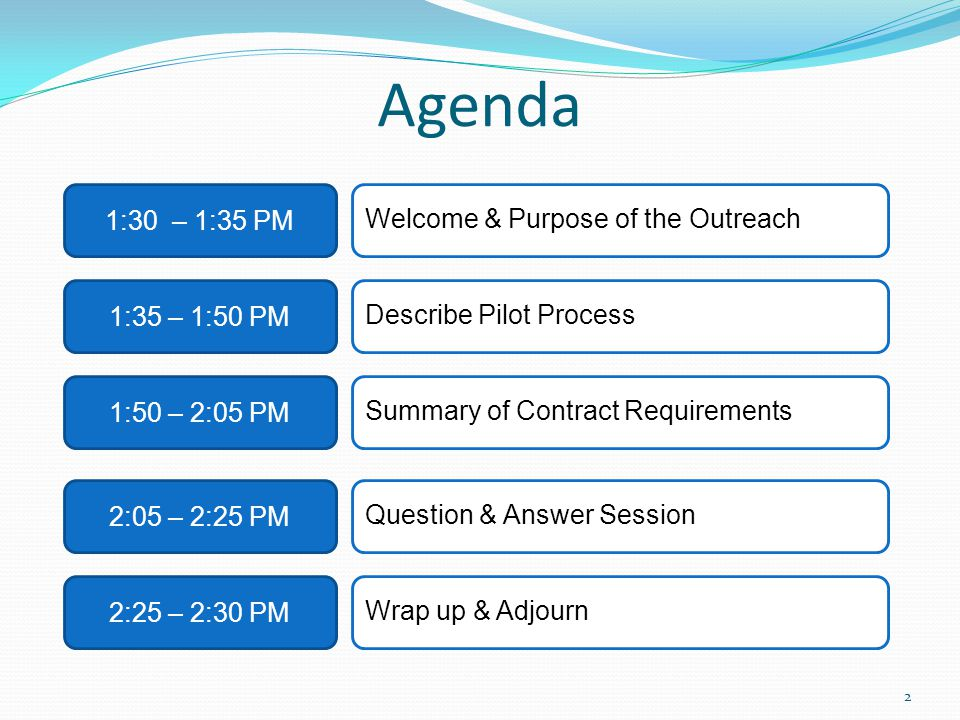 Agenda 1:30 – 1:35 PM 1:50 – 2:05 PM 2:05 – 2:25 PM 2:25 – 2:30 PM Welcome & Purpose of the Outreach Summary of Contract Requirements Question & Answer Session Wrap up & Adjourn 2 1:35 – 1:50 PM Describe Pilot Process
