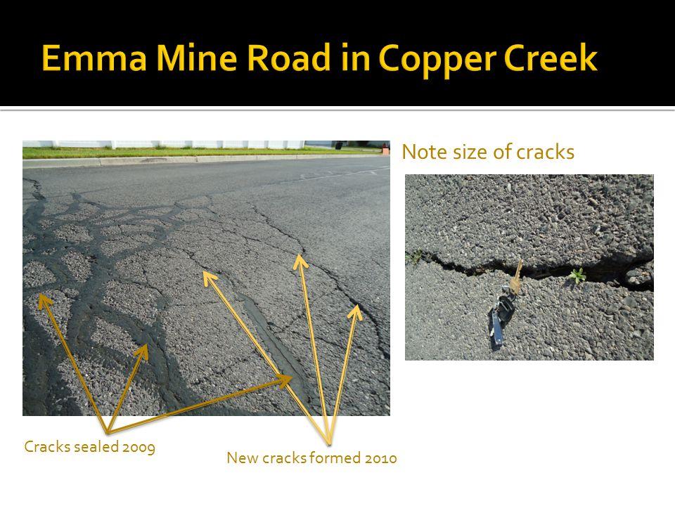  Note size of cracks Cracks sealed 2009 New cracks formed 2010