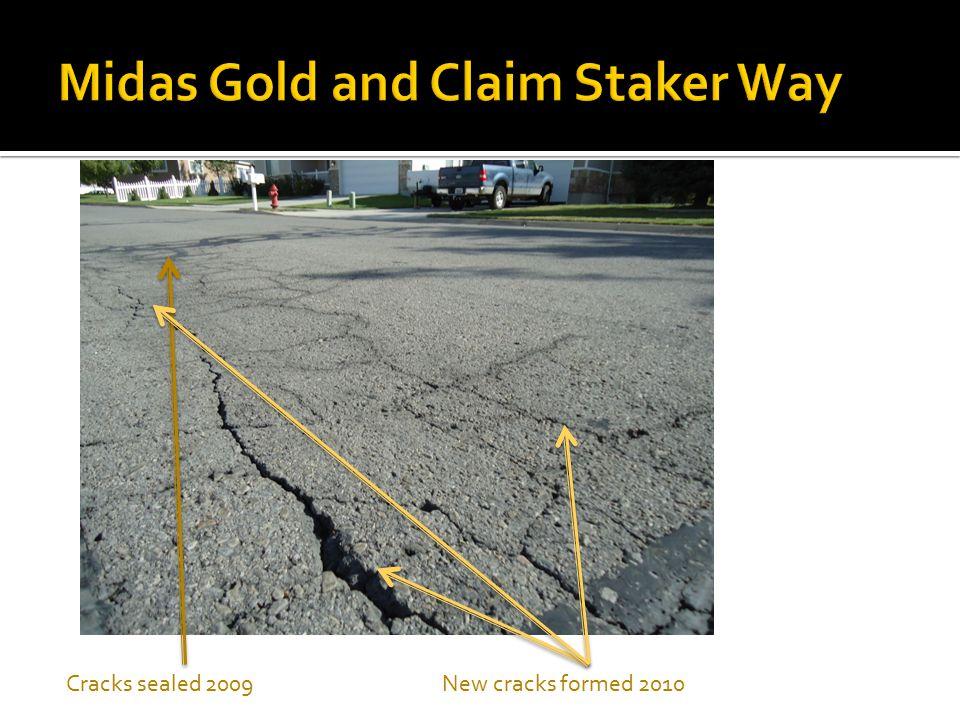 Cracks sealed 2009New cracks formed 2010